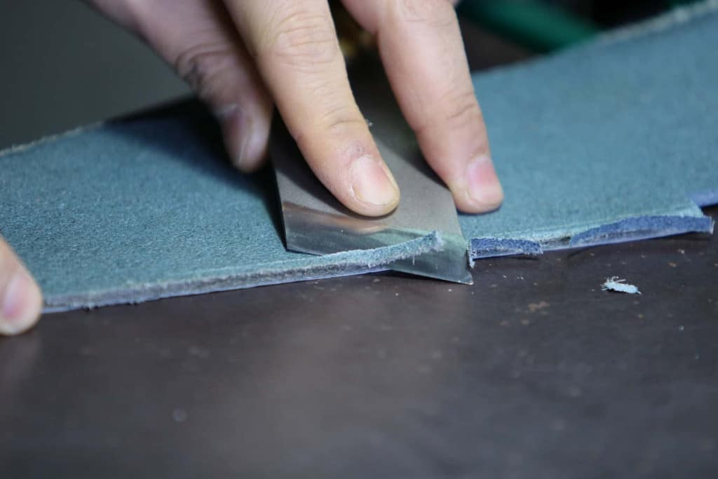 Leatherworker Skiving Leather - Liberty Leather Goods