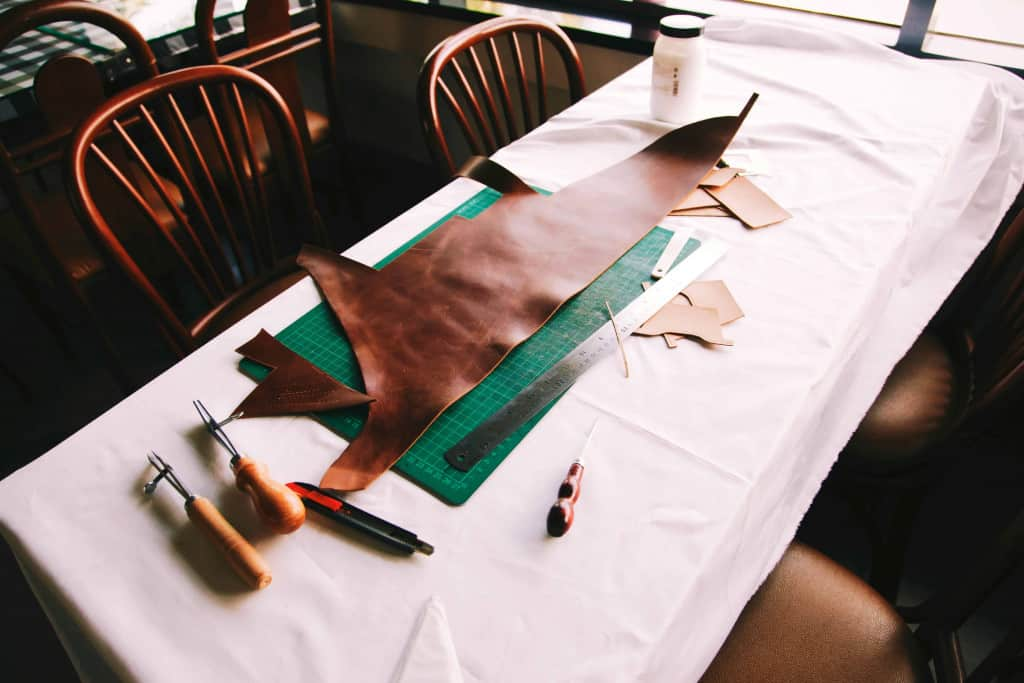 Leather Craftsman's Table and Supplies - Liberty Leather Goods