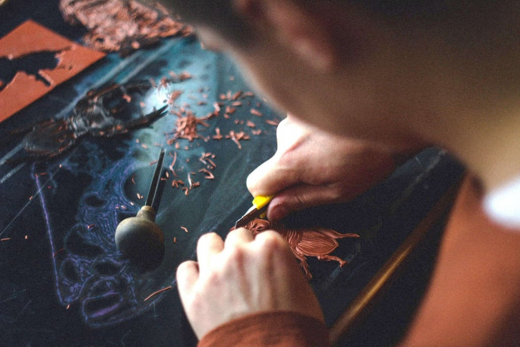 Leatherworker Cutting Leather - Liberty Leather Goods