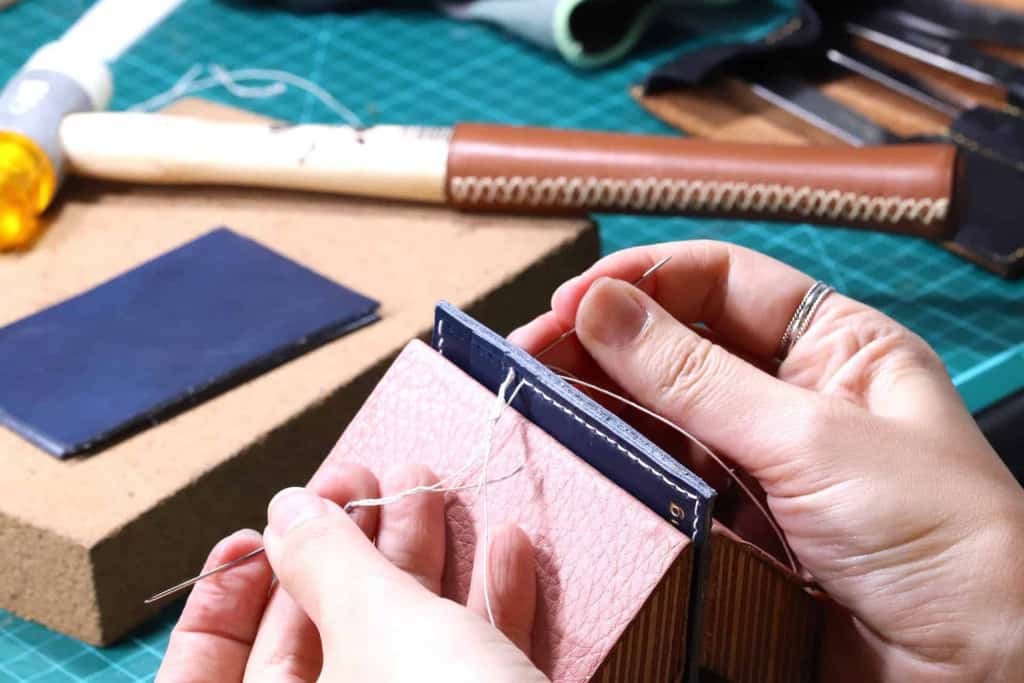 Leatherworker Hand-Stitching Leather - Liberty Leather Goods