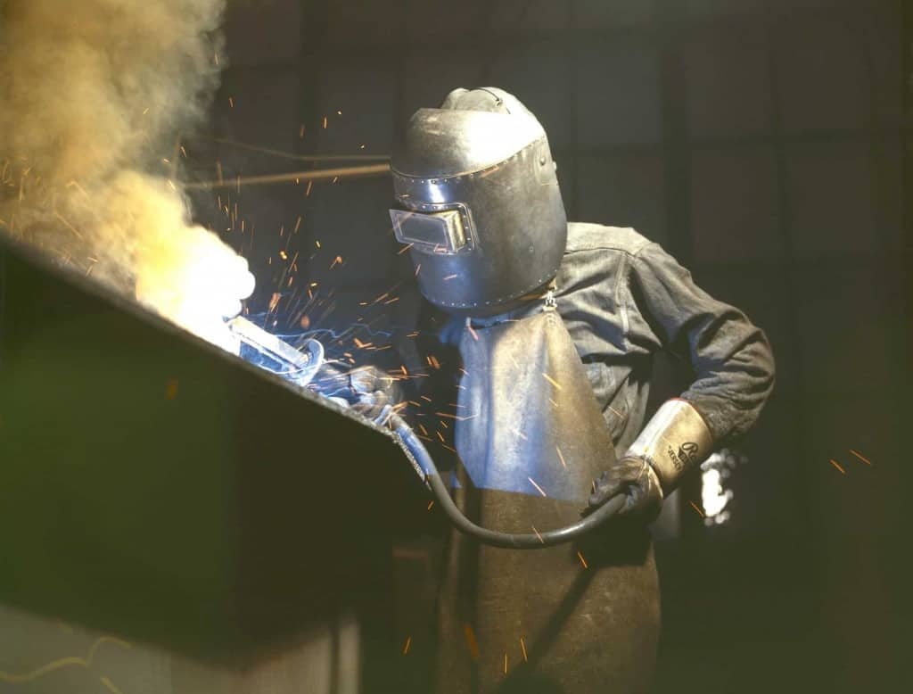 Welder with Leather Apron - Liberty Leather Goods