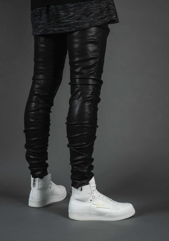 Mens Slim Fit Leather Jeans - Liberty Leather Goods