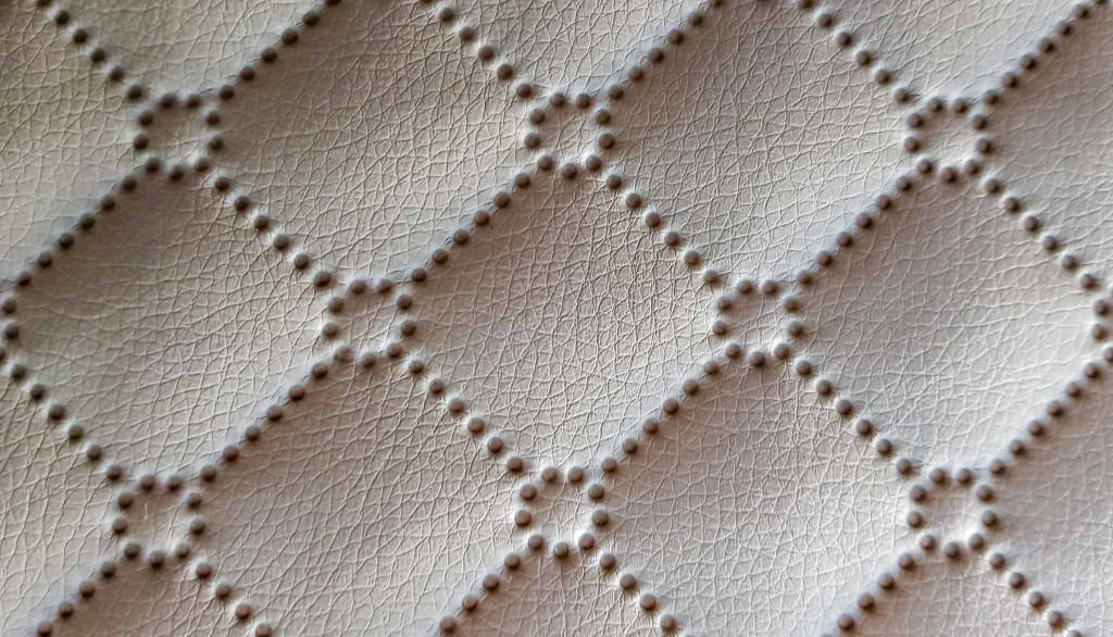 Beige Quilted Leather Bed Headboard - Liberty Leather Goods