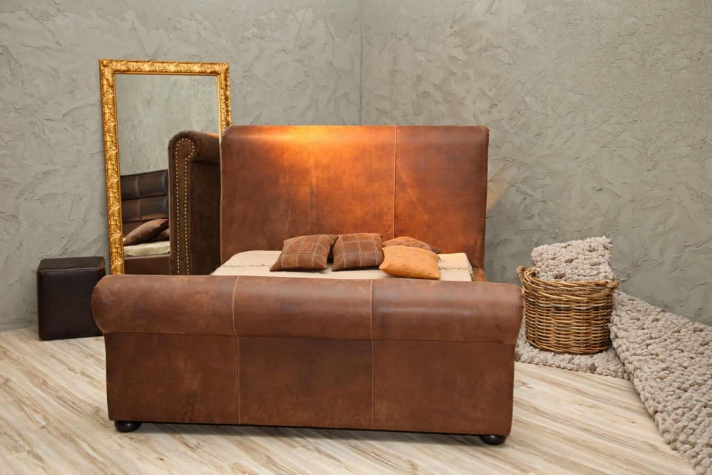 Brown Leather Bed - Liberty Leather Goods