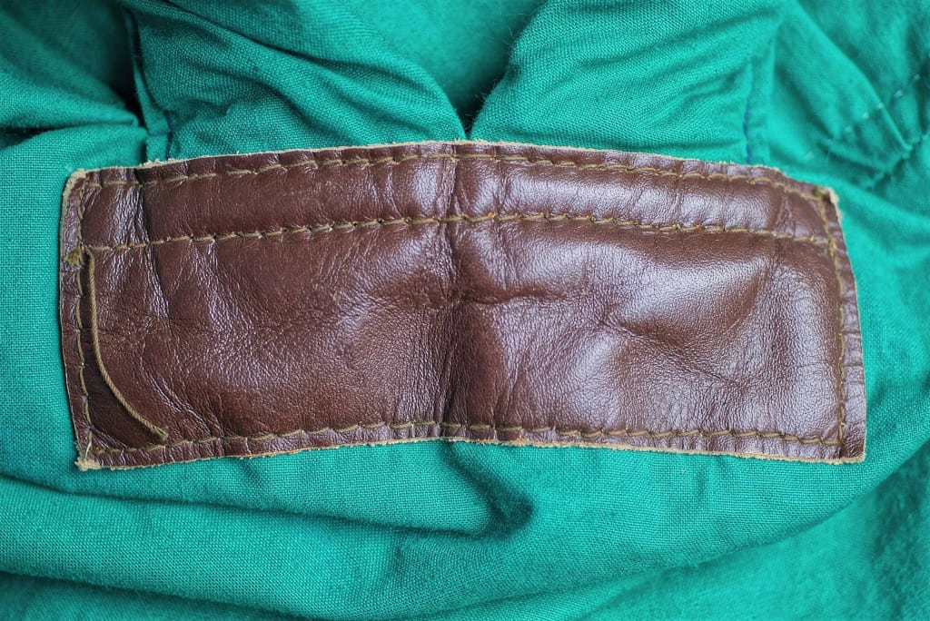 Brown Leather Patch on Green Fabric - Liberty Leather Goods
