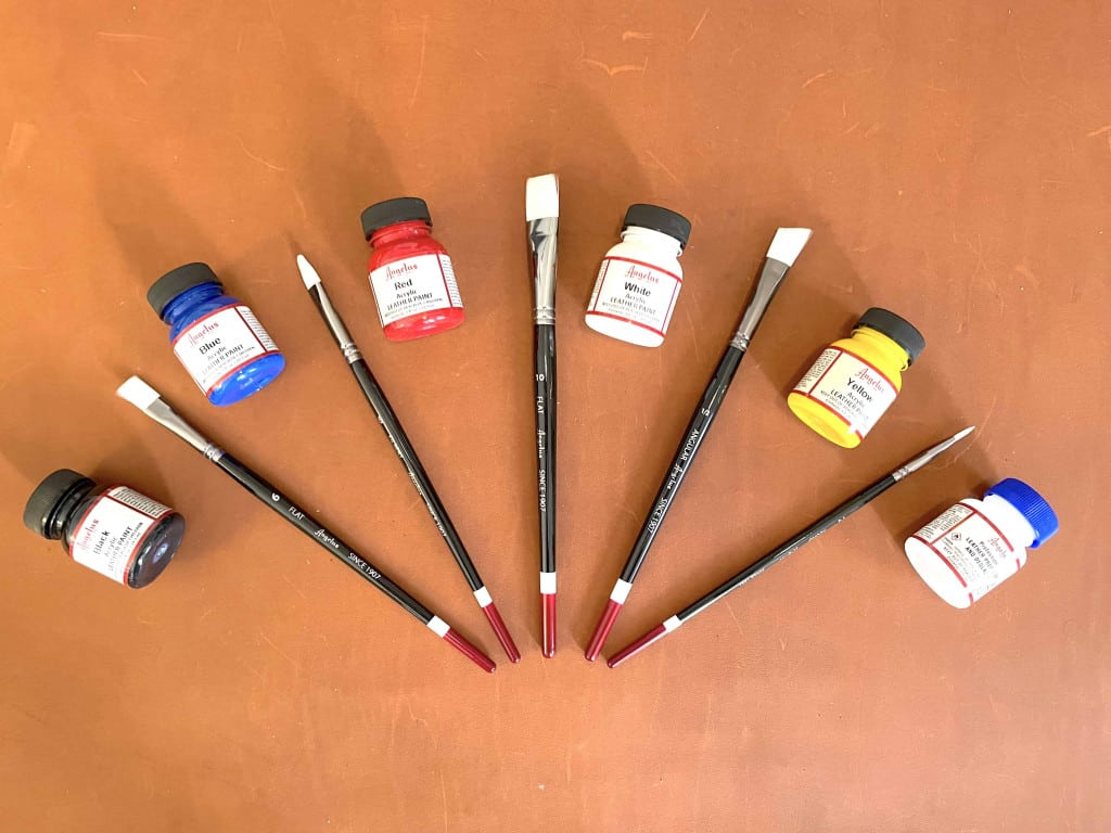 Acrylic Angelus Leather Paints and Brushes - Liberty Leather Goods