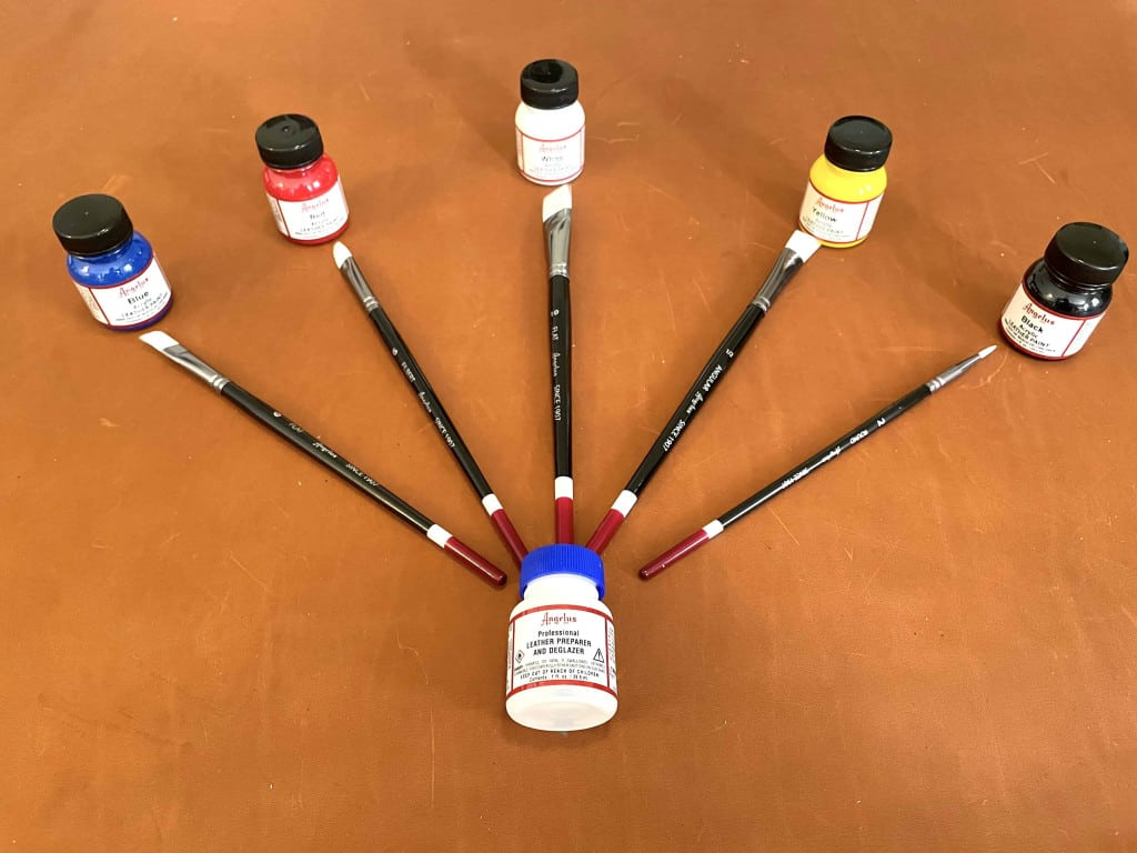 Acrylic Angelus Leather Paints and Preparer Deglazer with Brushes - Liberty Leather Goods