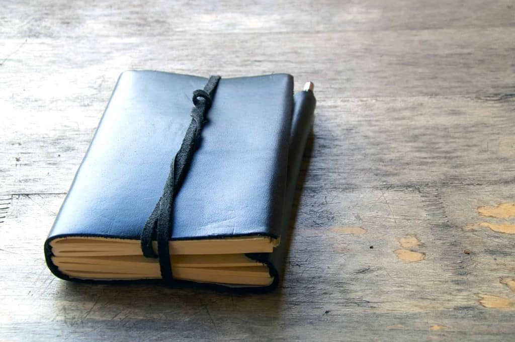 Black Leather Journal with Leather Lace Tie - Liberty Leather Goods