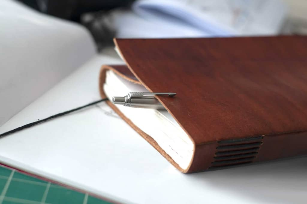Brown Leather Journal on Desk - Liberty Leather Goods