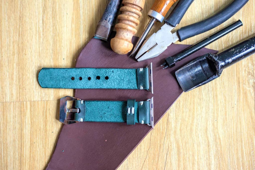 Hand Crafted Black Leather Apple Watch Band - Liberty Leather Goods