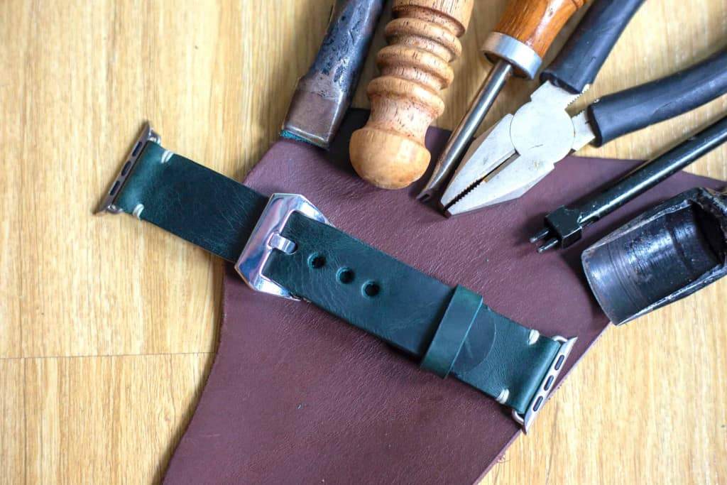Handmade Black Leather Apple Watch Band - Liberty Leather Goods