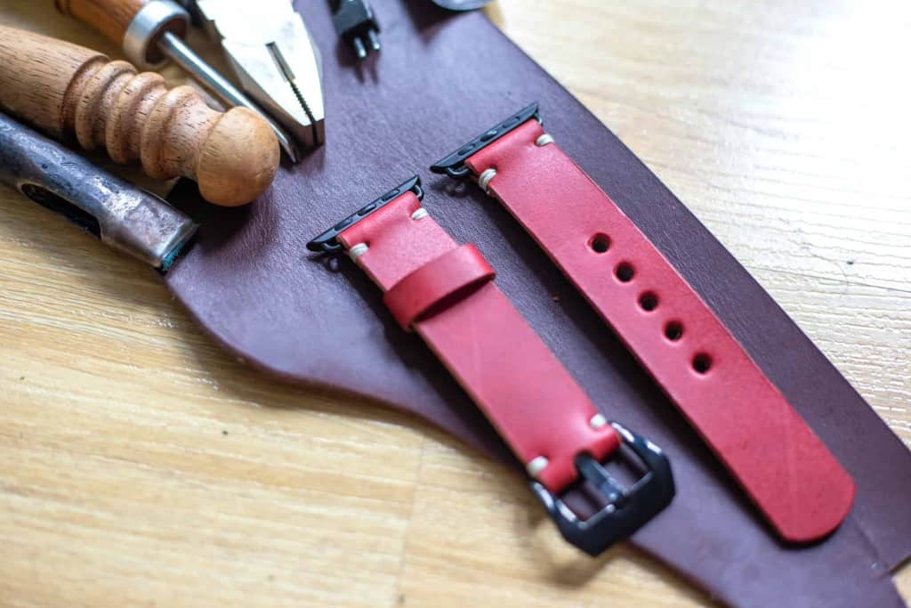 Handmade Red Leather Apple Watch Band - Liberty Leather Goods