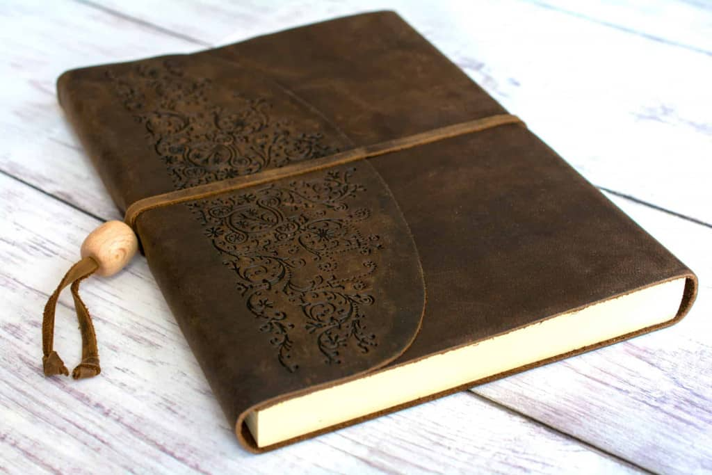 Natural Leather Journal with Intricate Decorative Pattern - Liberty Leather Goods
