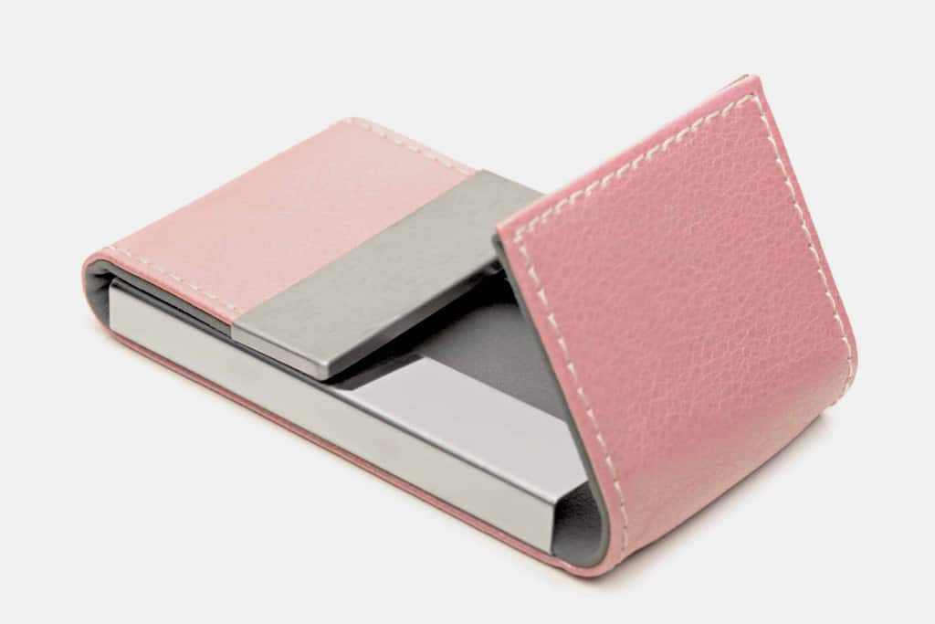 Pink Leather Card Holder - Liberty Leather Goods
