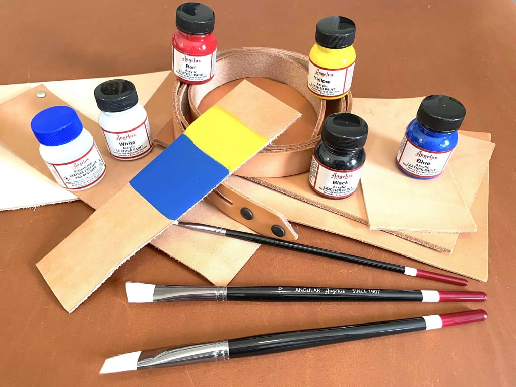 Yellow and Blue Acrylic Angelus Leather Paint Drying - Liberty Leather Goods