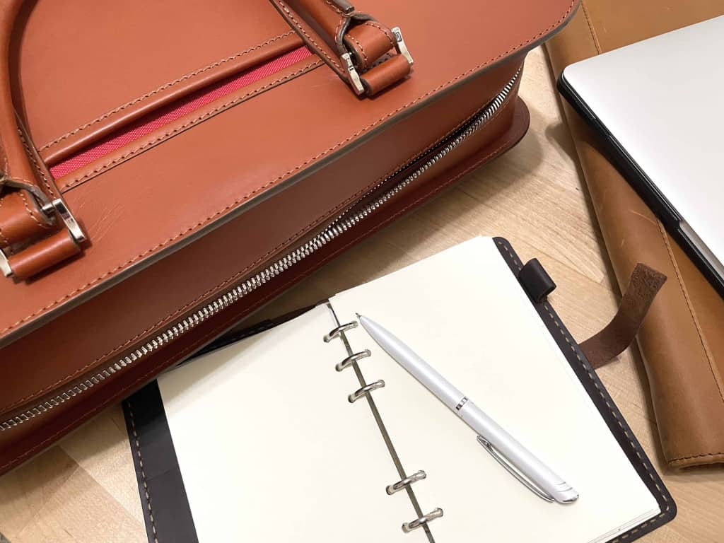 Palissy 25 Hour Large Leather Briefcase by Carl Friedrik on a Desk - Leather Briefcase - Liberty Leather Goods