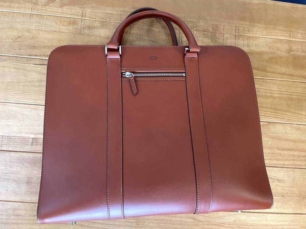 Palissy 25 Hour Large Leather Briefcase by Carl Friedrik on its Side - Leather Briefcase - Liberty Leather Goods