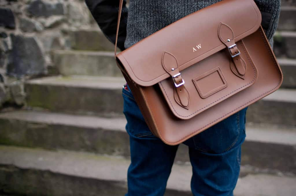 Leather Briefcase with Monogram - Liberty Leather Goods