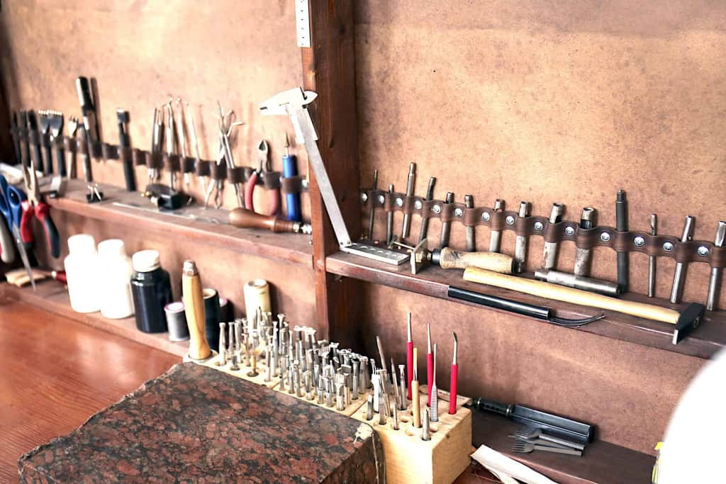 Leather Tooling Tools on Workbench - Leather Tooling Kit - Liberty Leather Goods