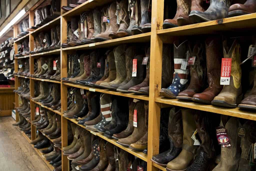 Leather Boots in a Leather Shop - Liberty Leather Goods