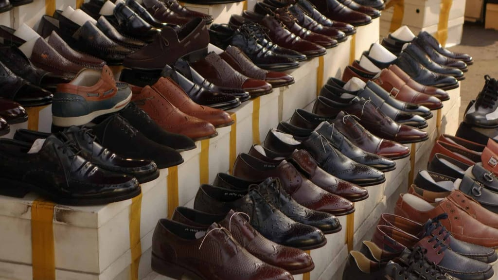 Racks of Finished Leather Shoes - Liberty Leather Goods