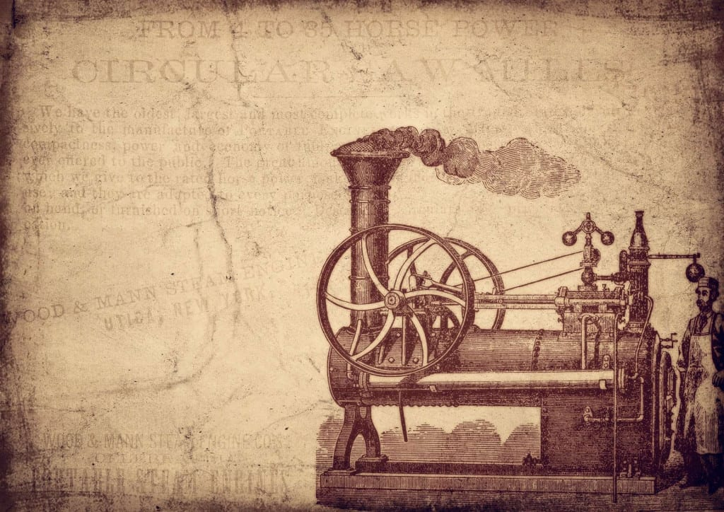 Steam Engine - The History of Leather and Leather Craft - Liberty Leather Goods