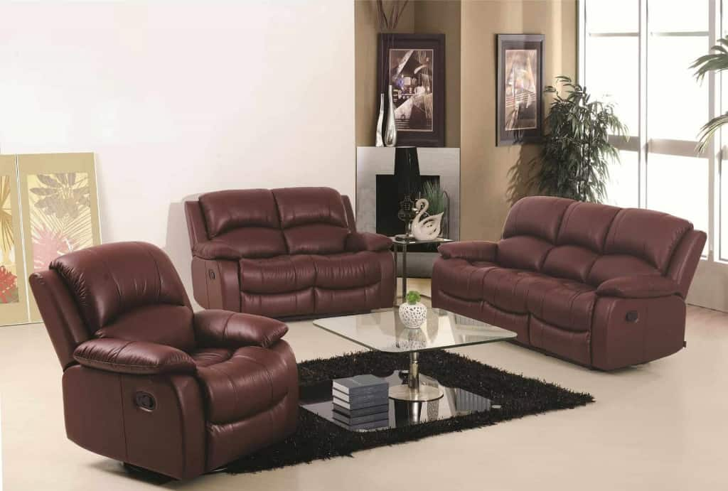 Brown Leather Sofa Set - Leatherette - Liberty Leather Goods