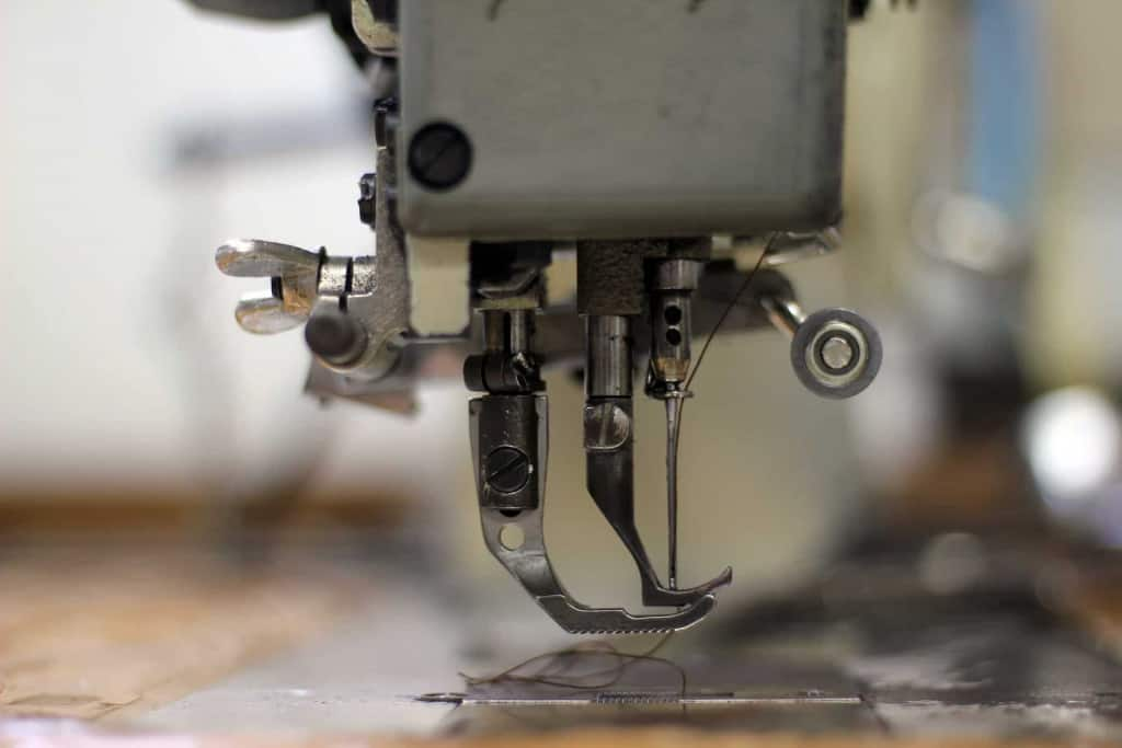 Closeup of Sewing Machine Needle and Foot - Leather Sewing Machine - Liberty Leather Goods