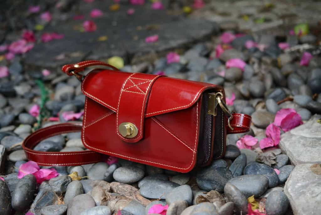 Red Leather Purse By a Creek - Eco Leather - Liberty Leather Goods