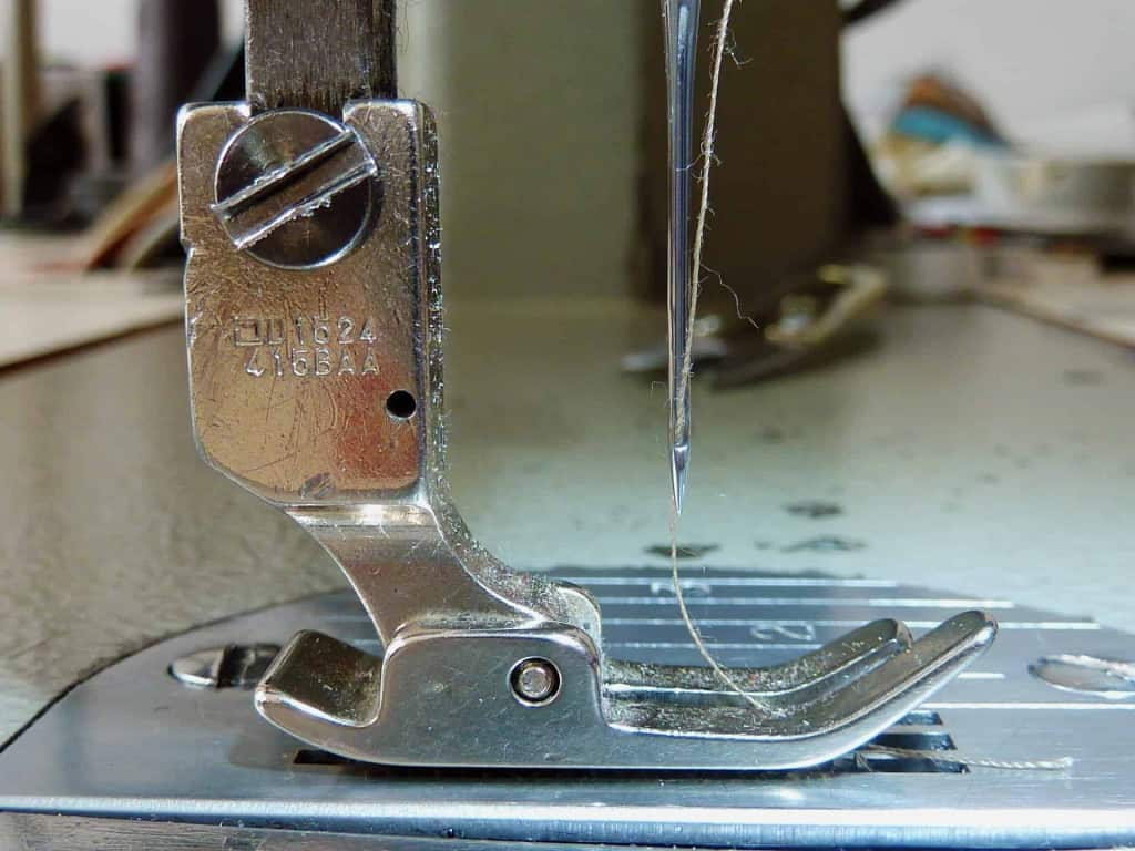 Sewing Machine and Needle Closeup - Liberty Leather Goods