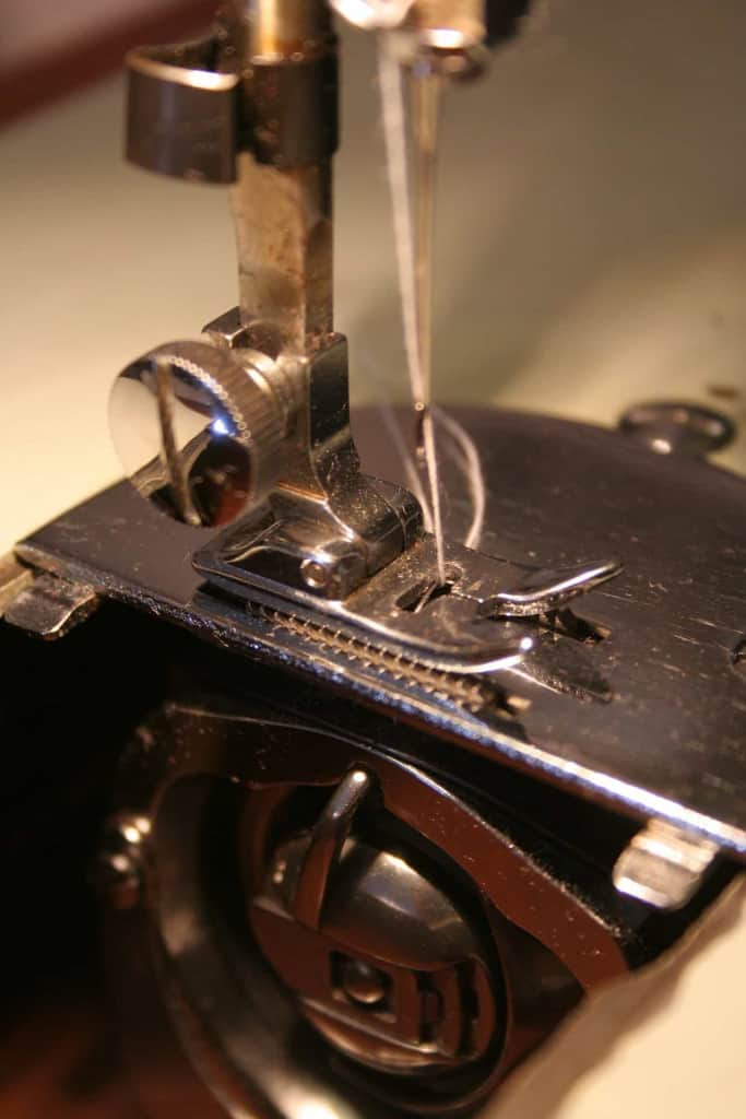 Sewing Machine with Bobbin Case Open - Leather Sewing Machine - Liberty Leather Goods