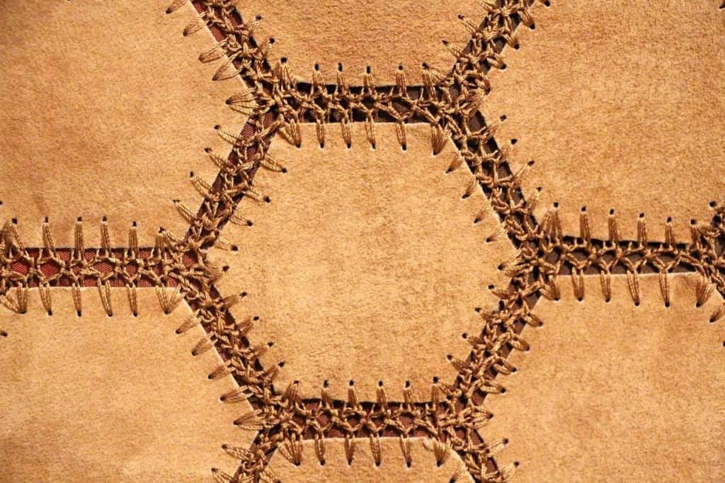 Stitched Nubuck Leather Closeup - Liberty Leather Goods