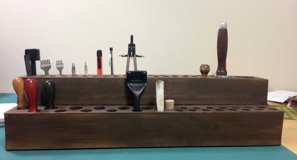 Leather Tool Holder - Front View with Tools Added - Liberty Leather Goods