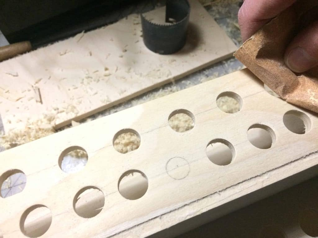 Leather Tool Holder - Sanding the Holes - Liberty Leather Goods