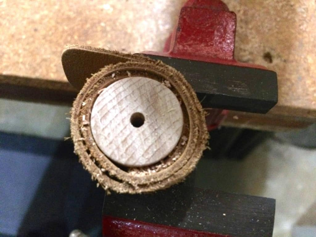 The Drilled Post Hole for a Leather Burnishing Bit - Liberty Leather Goods