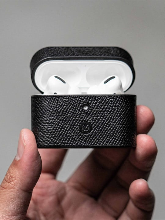 Black Textured Leather Airpod Case - Liberty Leather Goods