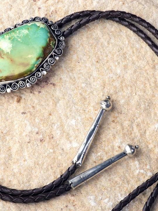 Green Stone Bolo Tie - Bolo Tie - Liberty Leather Goods