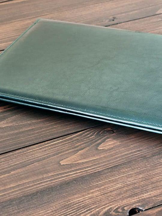 Thin Black Leather Folder on Desk - Leather Folder - Liberty Leather Goods